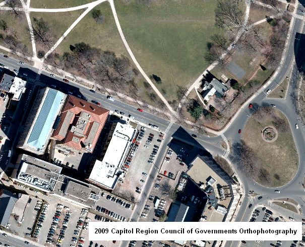 Example of 2009 Capitol Region Council of Governments Orthophotography within the vicinity of the Connecticut Department of Environmental Protection building at 79 Elm Street, Hartford, Connecticut.